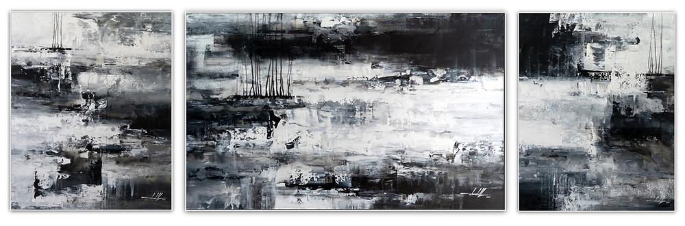 Telas Abstratas Em Preto E Branco