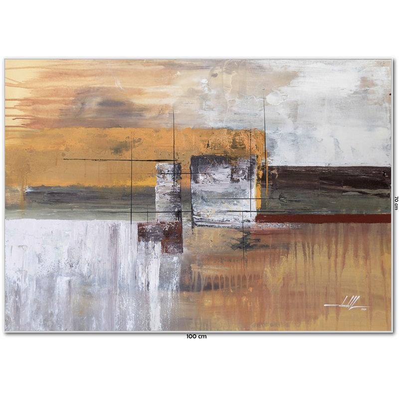 Quadro Com Pintura Abstrata Em Tela 100