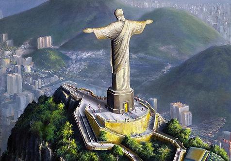 Pintura em Tela 100 cm X 70 cm - Paisagem Rio de Janeiro 10