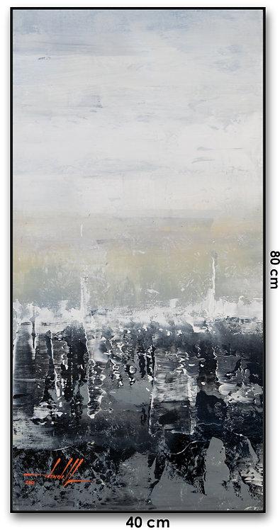 Quadro Com Pintura Abstrata Em Tela - Com Moldura - Balloboa
