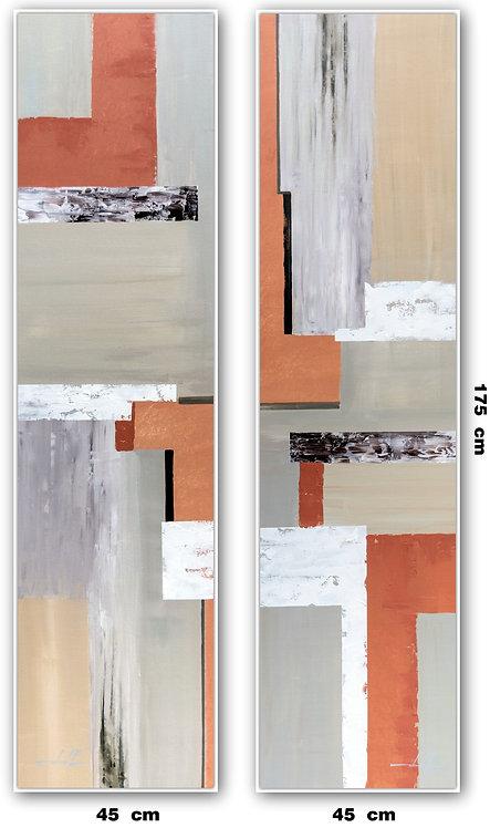Duas Telas Abstratas Para Quadros de 45 cm X 175 cm
