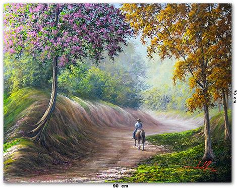Pintura De Paisagem Em Tinta Oleo sobre Tela 90 cm X 70 cm