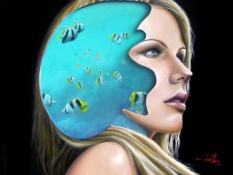 Obra Surrealista em Óleo sobre Tela - Fiorella