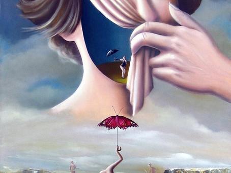 Obra Surrealista em Óleo Sobre Tela - A Cortina