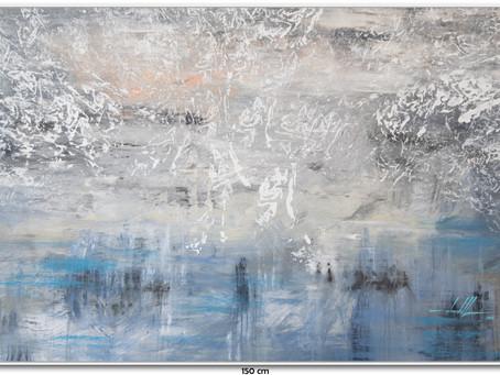 Tela Abstrata Azul 1,50 X 1 M