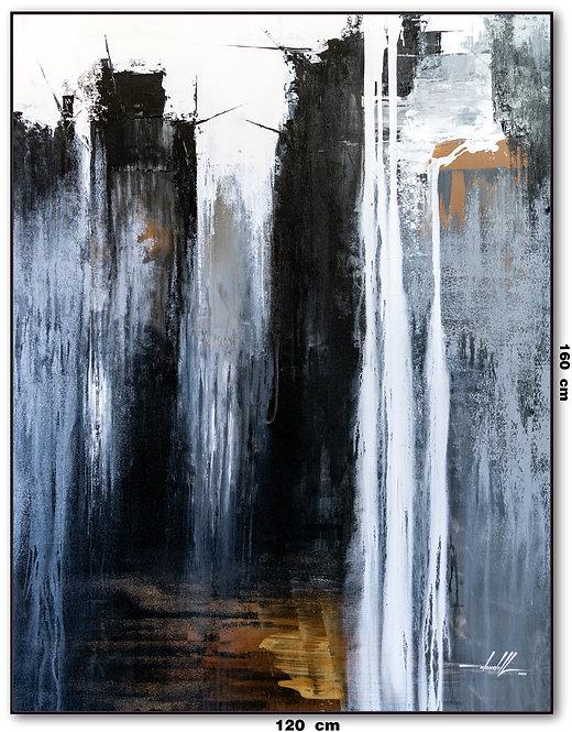 Tela Abstrata Em Preto e Branco 1,20 M x 1,60 M