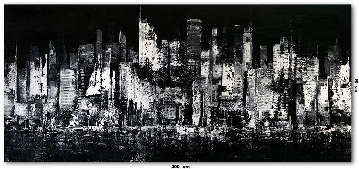 Quadro Abstrato Em Preto E Branco 200 cm X 90 cm