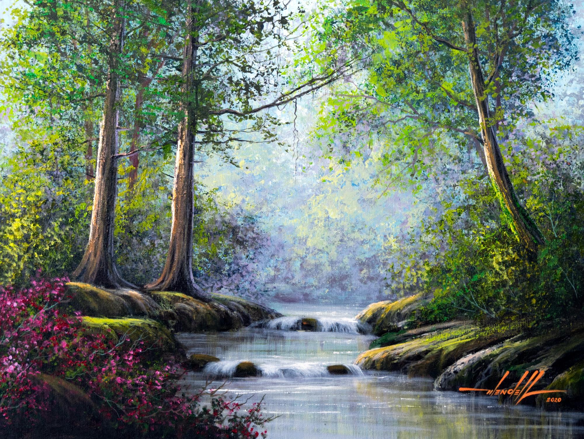 Pintura De Riacho Em Tinta Oleo sobre Te