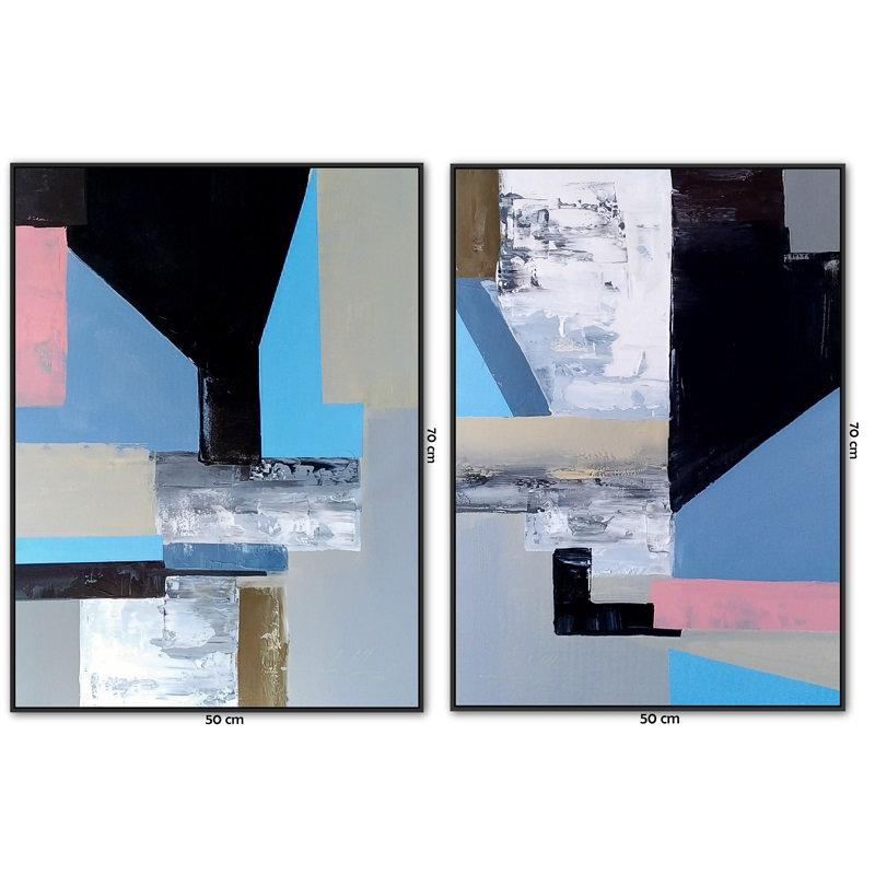 Dois Quadros Com Telas Abstratas 50 cm X