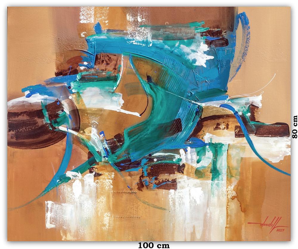 Quadro Moderno Com Pintura Abstrata Em Tela