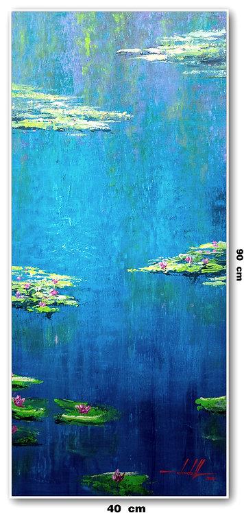 Pintura Impressionista Lago Giverny 40 CM x 90 CM - LeMonet 4