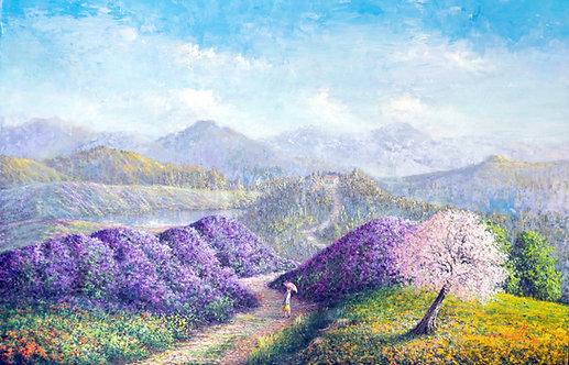 Quadro Com Pintura De Paisagem Impressionista - 140 cm X 90 cm