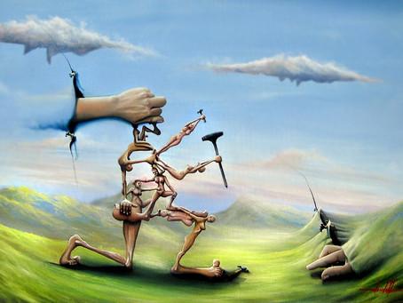 Uma Pintura Surreal em Óleo sobre Tela