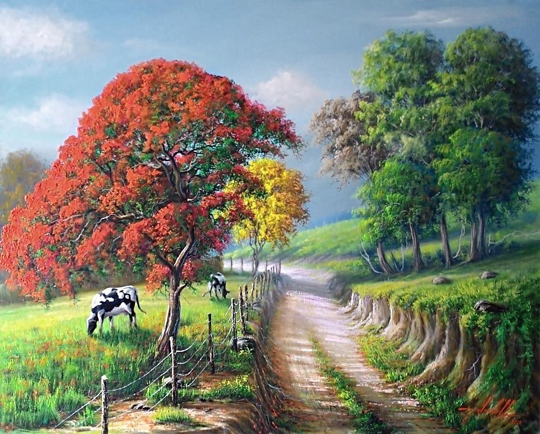 pintura de paisagem com flamboyant