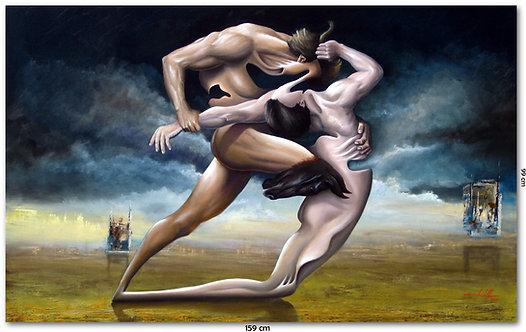 Obra Surrealista em Óleo sobre Tela  - A Disputa