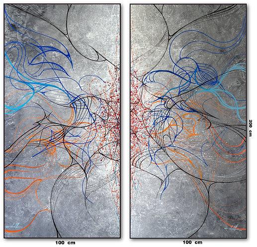 Dois Quadros Abstratos  100 cm X 200 cm Cada