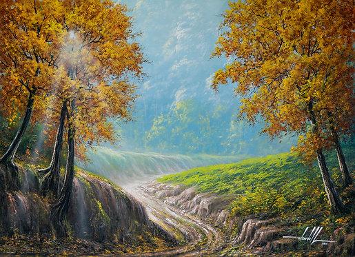 Pintura De Paisagem Em Tinta Óleo sobre Tela 100 cm X 70 cm