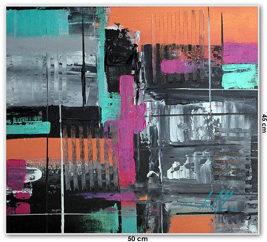 Quadro Com Pintura Abstrata Em Tela 50 cm X 45 cm - Deja-Vu 5