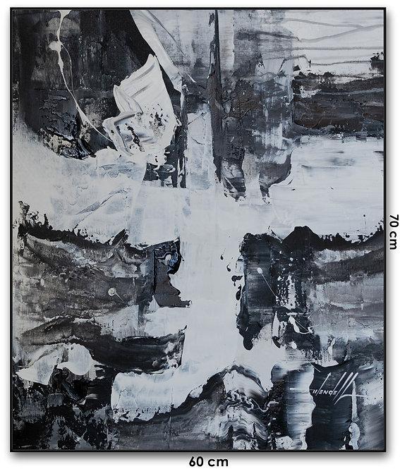 Quadro Com Pintura Abstrata Em Preto e Branco - Com Moldura - Lunna 4
