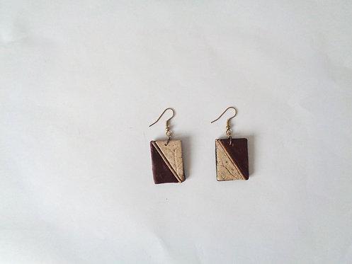 rectangular nature burgundy color earrings