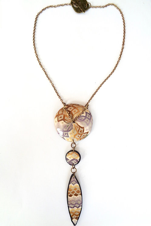 Long necklace made of polymer clay Effect mosaïc
