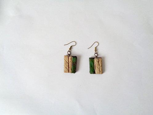 Boucles d'oreilles nature rectangulaires vert olive