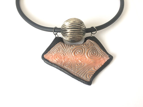 plastron necklace in polymer clay