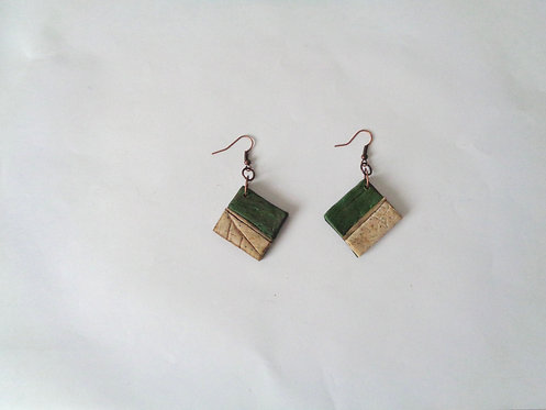 Boucles d'oreilles nature vert olive