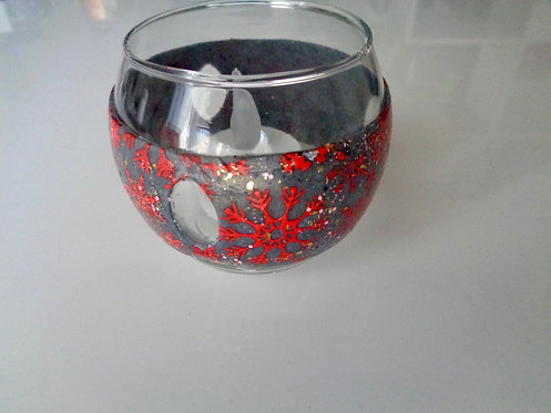 tea light red flakes with polymer clay