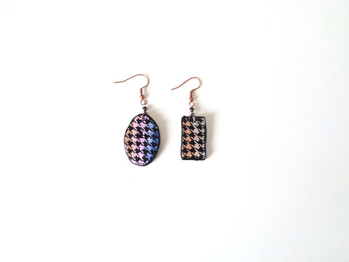 Houndstooth polymer clay earrings