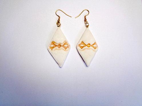 Polymer clay lozenge earrings