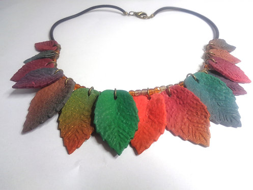 necklace made of polymer clay and transparent beads