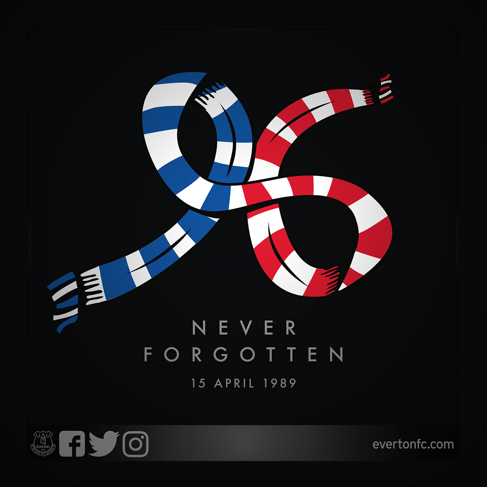 In memory of the 96 supporters who lost their lives in the Hillsborough disaster