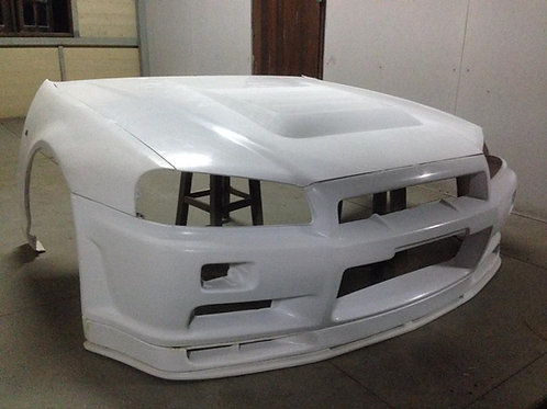 Nissa R34 racing hood, lip/bumper and fenders