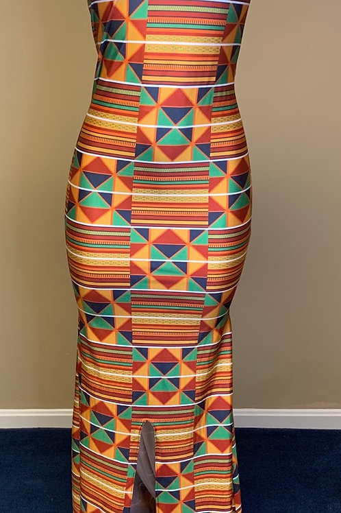 Africa print sheath gown