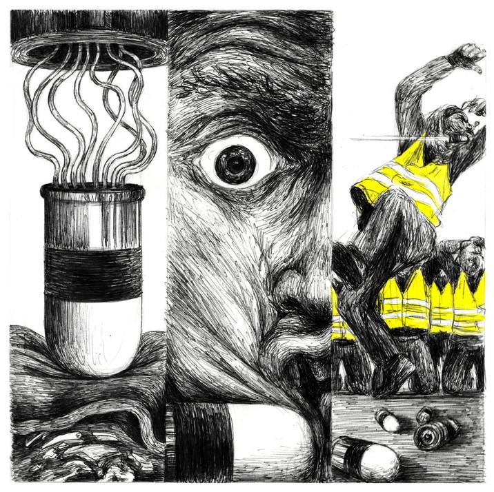 """illustration pour le morceau """"Gilets jau"""
