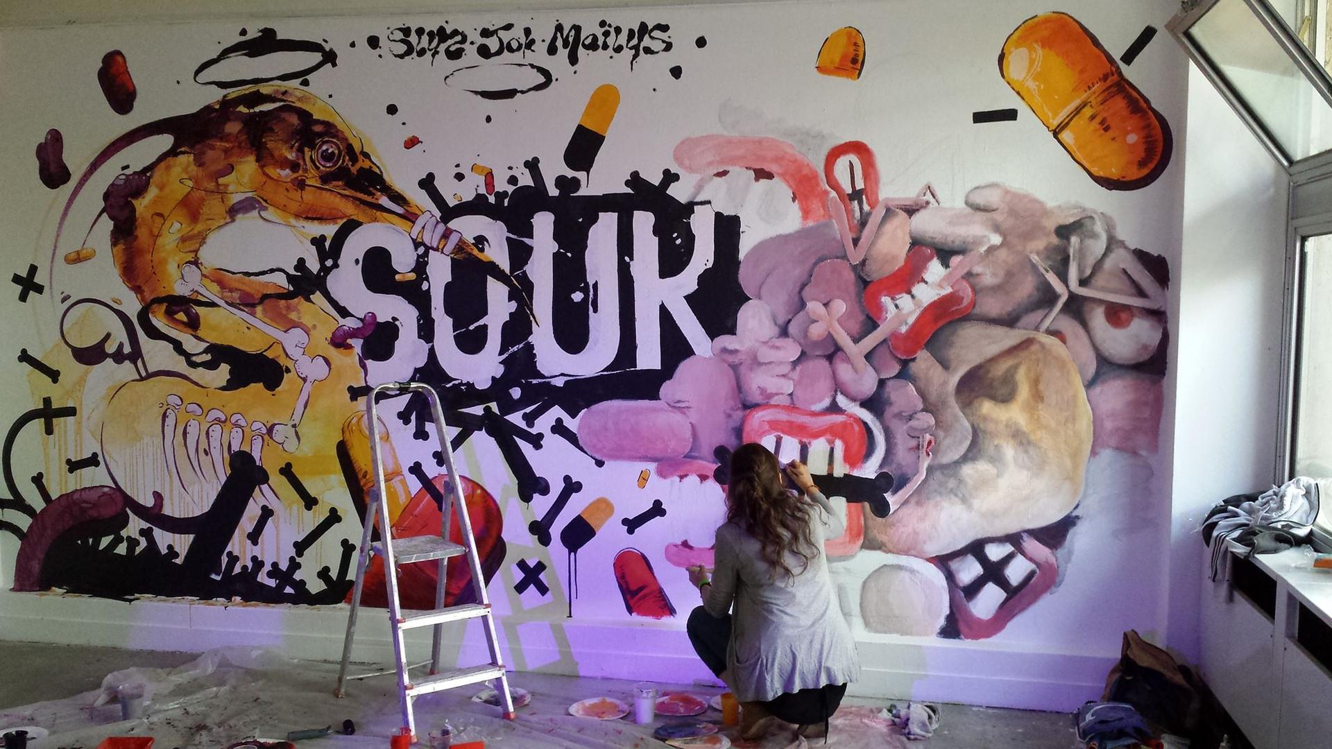 Fresque pour le SOUK-MACHINE au 6B,  Maïlys Vallade + Sly2