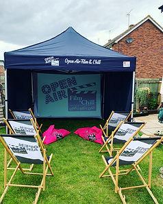 Garden Cinema set up in a 3x3 marquee