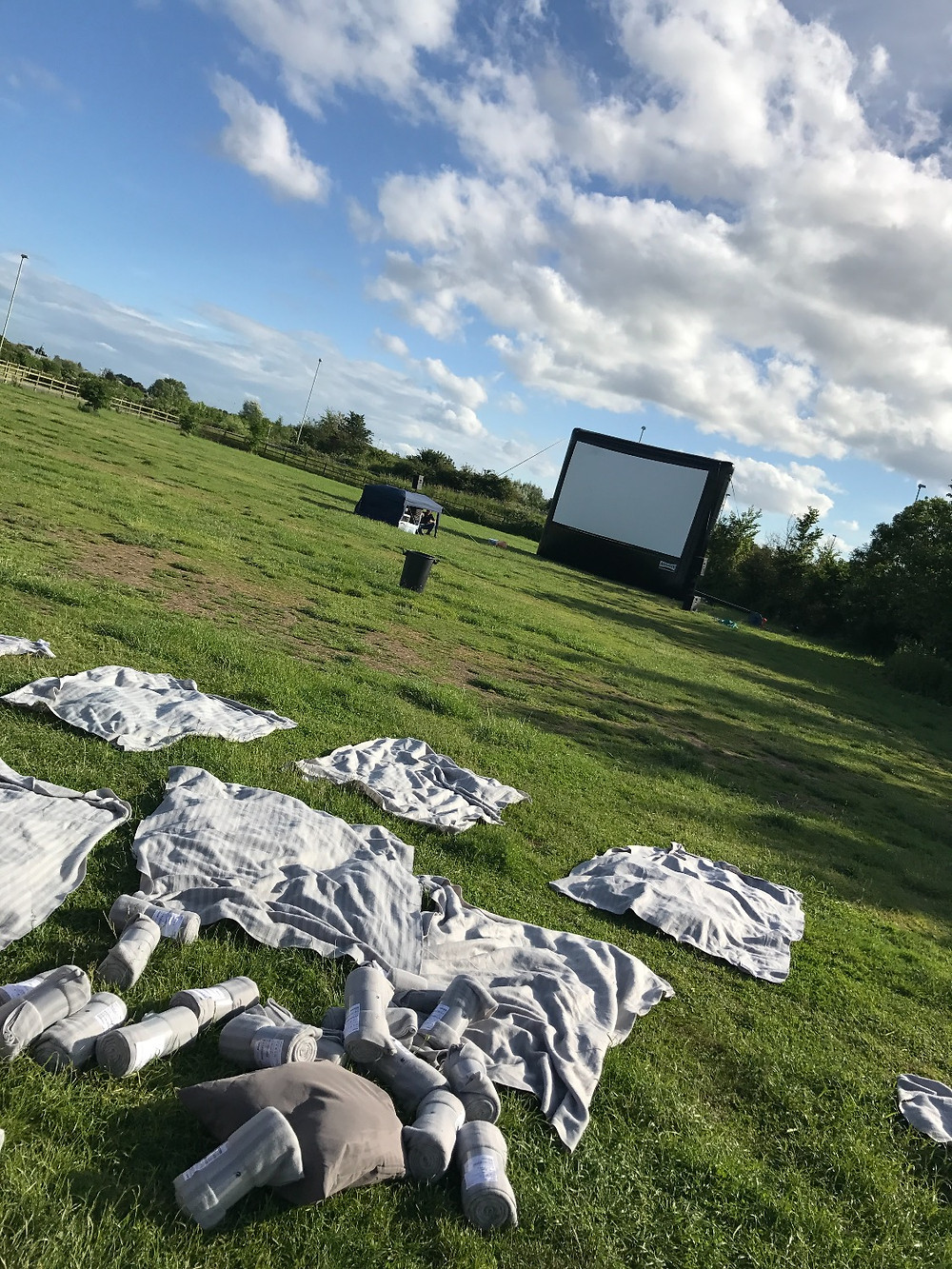 Drying all the blankets ready for tonights Open Air Cinema