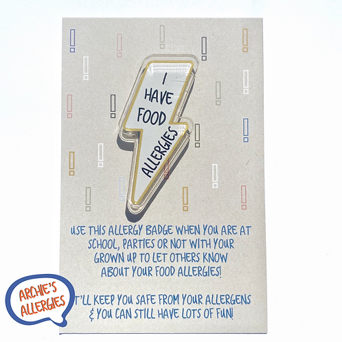 I HAVE FOOD ALLERGIES Lightening Bolt Pin Badge