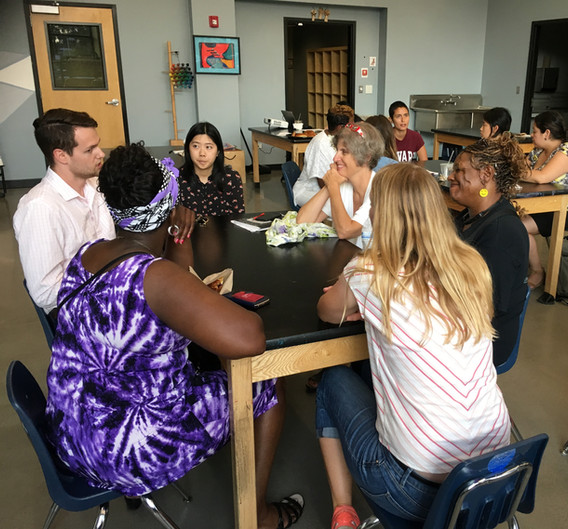 In contrast, CUE begins hosting a series of 10 community meetings to discuss, break down, and consider the benefits and burdens of the proposal in communities across South Loop, Bronzeville, and Chinatown. Here a meeting is held at Daystar School in the South Loop.