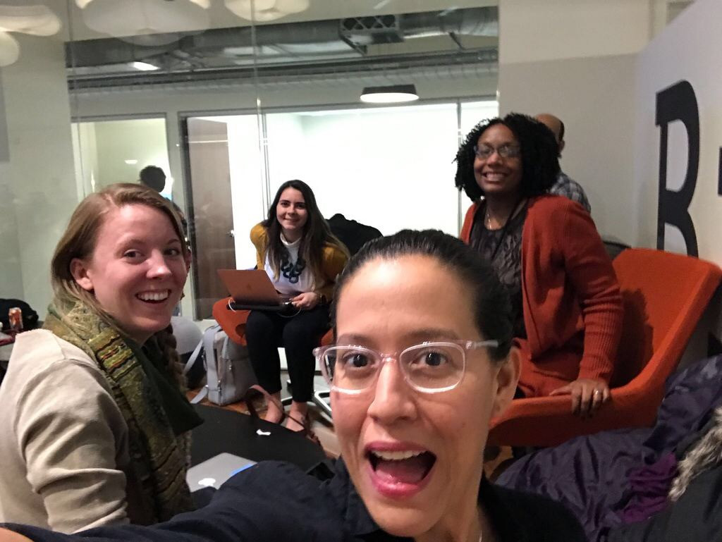2019 CUE Fellows at a Chi Hack Night event to share the Vote Equity ballot.
