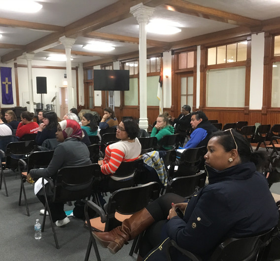 In May 2017, CUE held our first meeting aimed at connecting NTA families to citywide racial justice advocates. Advocates listen to Audrey Johnson's story about the history of the NTA community, Ickes development, and the layers of inequitable policy she and her neighbors endure.