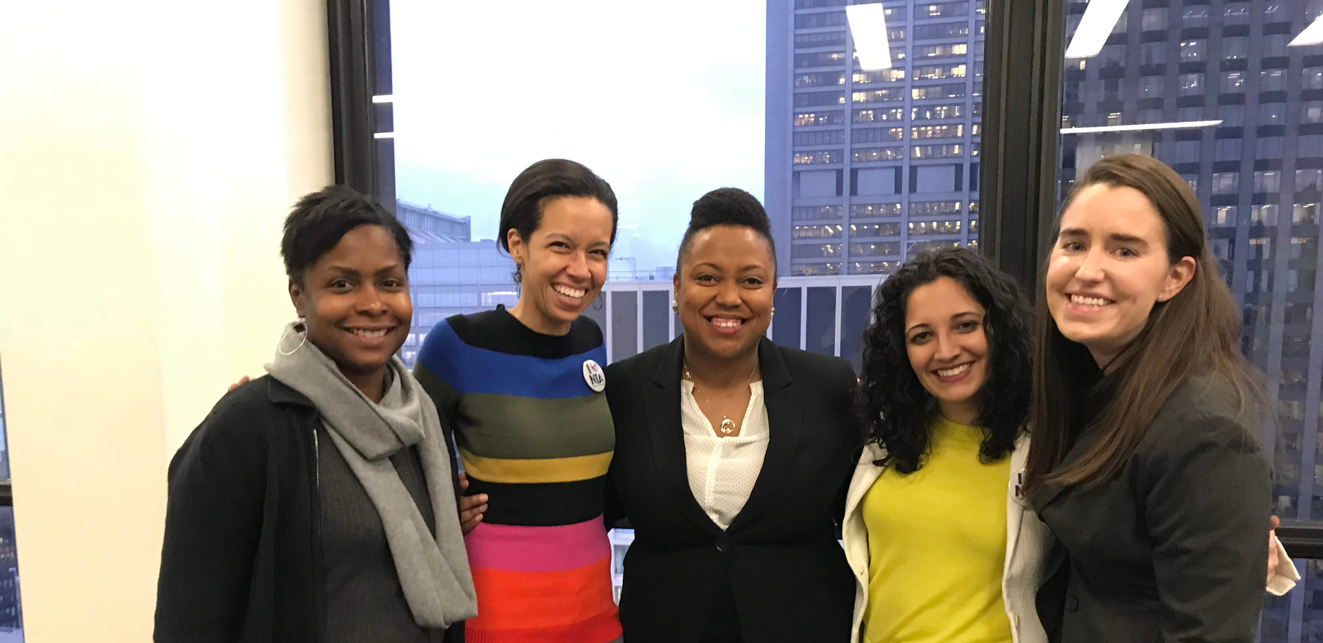 The injunction filed is heard on December 3rd, 2018. The litigation team is all smiles after the court's decision. (L to R: Parent Anika Matthews-Feldman, LSC President Elisabeth Greer, attorney Candace Moore, CUE ED Niketa Brar, and attorney Kate Gladson.