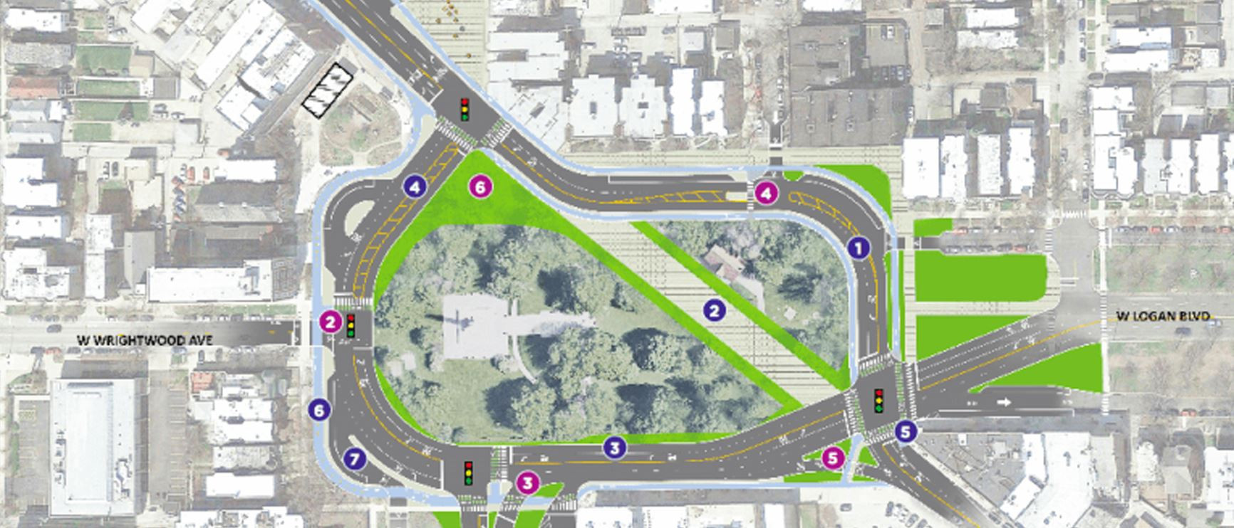 This project began with the redesign of the Logan Square traffic circle.