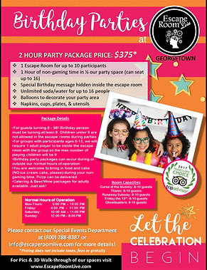 Escape Room Live Birthday Party packages