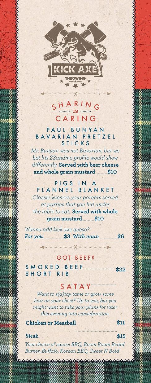 menu COVID Kick Axe Throwing DC Food & D