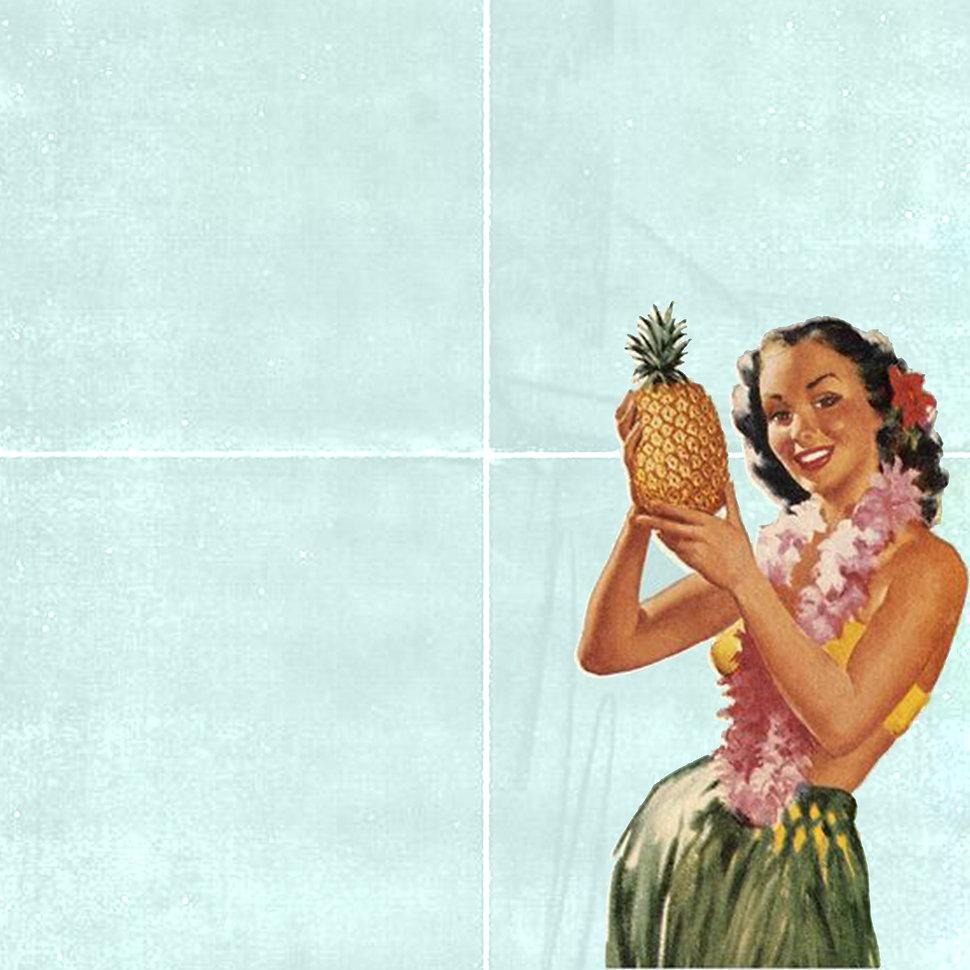 hula girl throw social pineapple