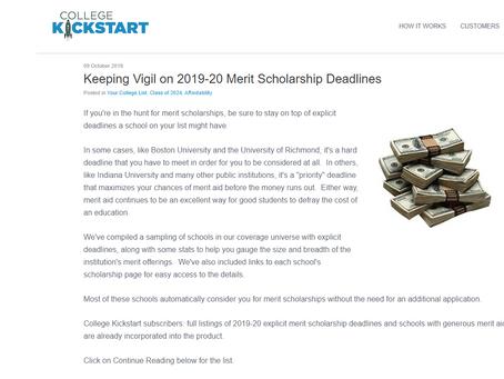 """Keeping Vigil on 2019-20 Merit Scholarship Deadlines"" Kickstart article"