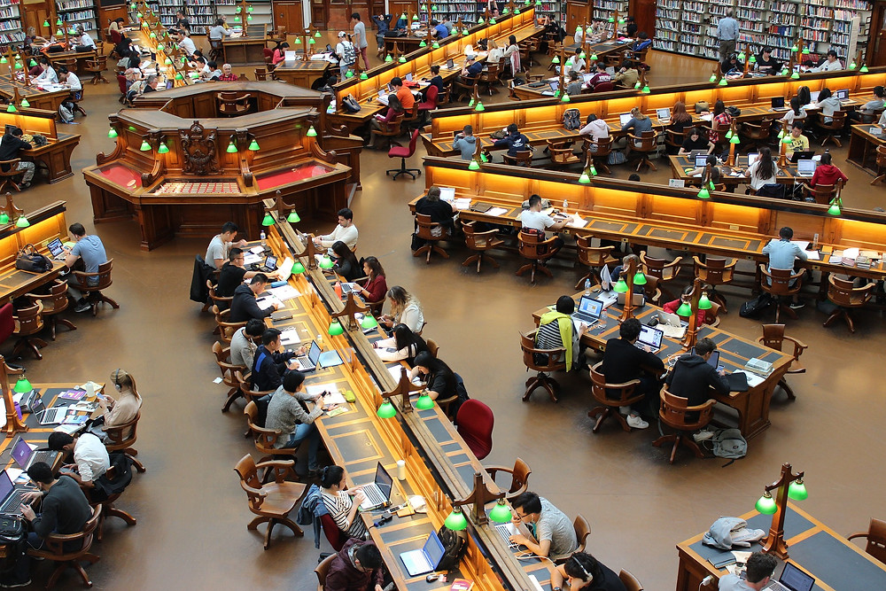 Students studying in a large university library